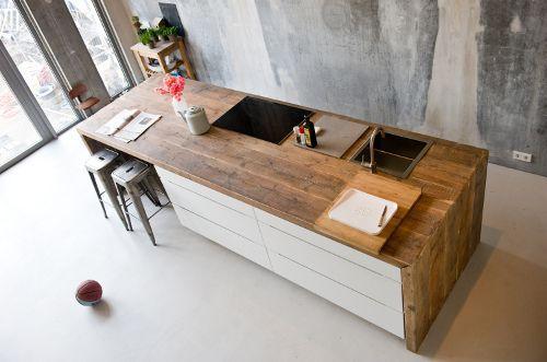 Keukeneiland T Opstelling : Kookeiland kleine ruimte tijdloze keuken in rechte opstelling met